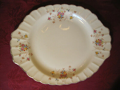 "15 1/4"" Limoges USA New Princess 22K Gold Scalloped Ribbed Floral Serving Plate"