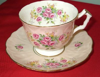 Aynsley Fancy Light Pink Bone China Cup/Saucer 1940s