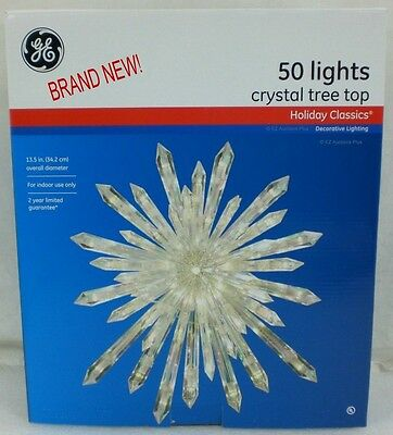 "New in Box GE 13.5"" LIGHTED CRYSTAL Christmas Tree Topper 50 Light Incandescent"