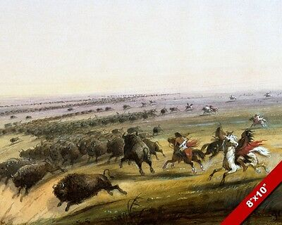Buffalo Hunt Native American Indians Oil Painting Art Real Canvas Giclee Print