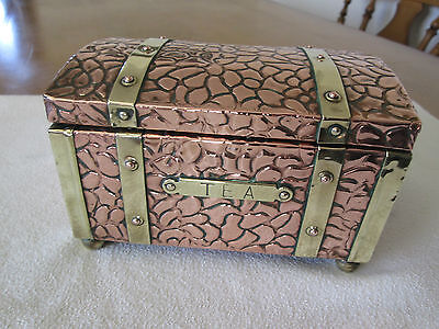 LOVELY VINTAGE/ANTIQUE RETRO COPPER/BRASS (TIN LINED TEA CHEST/CADDY).