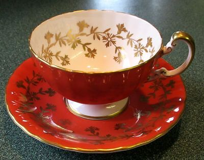 Aynsley Fancy Golden Cornflowers Bone China Tea Cup And Saucer 1940s