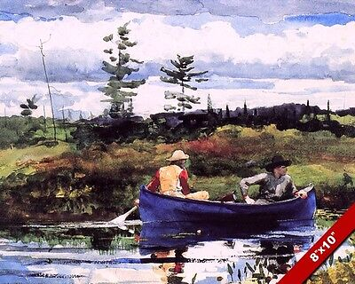 2 Men In A Blue Row Boat Canoe On Lake Oil Painting Art Real Canvas Giclee Print