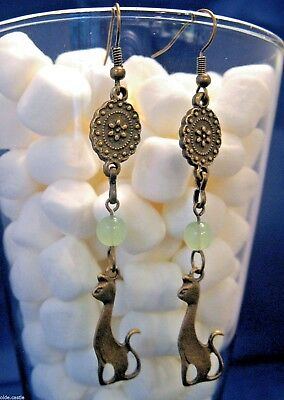 買 Olde Castle Arts ~ Egyptian Cat Charm Earrings w/ Green Glass & Medallion