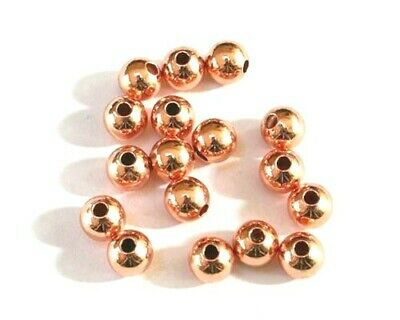 Premium Rose Gold Brass Round Spacer Beads - Various Sizes - lady-muck1