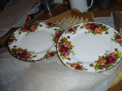 2 x old country roses royal albert side plates 1962 vgc