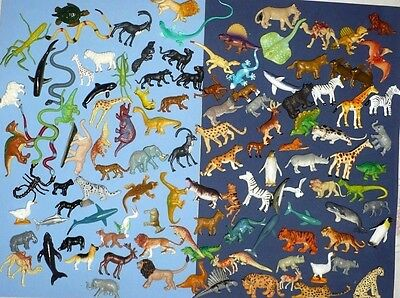 Huge Lot Of Plastic 114 Pcs. Animals Assorted Styles Jungle Sea Etc Party Prizes