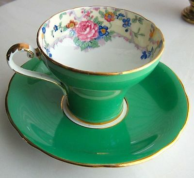 Aynsley Fancy Apple Green& Flowers Bone China Corset Tea Cup And Saucer 1930s