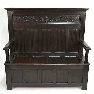 Antique English Carved Oak Gothic Tudor style Linenfold Panel Hall Bench