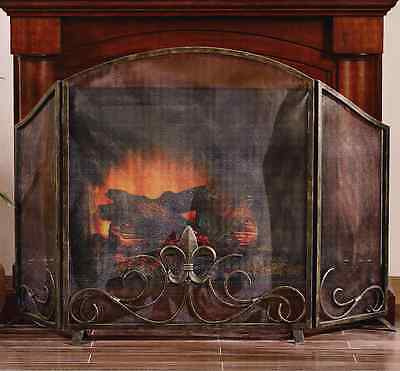 "Fleur De Lis Scroll French Country Classic Iron Fireplace Fire Screen 59""W"