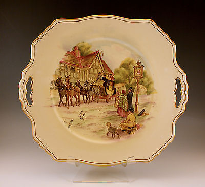 1940 'S ROYAL WINTON GRIMWADES, HAPPY DAYS, SQUARE CAKE PLATE -HAND PAINTED