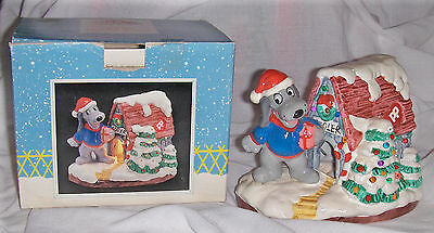 """c1987 Tonka Christmas POUND PUPPIES """"Ceramic Lighted House"""" in Box (#39028)"""