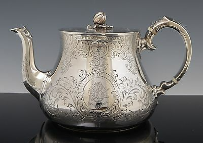 London 1860 STERLING SILVER Victorian English TEAPOT Melon Finial Hand Chased NR