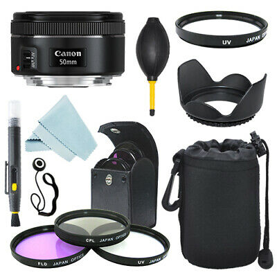 Canon EF 50mm f/1.8 II Lens + Rubber Hood + Filter Kit + Case + Accessory Kit