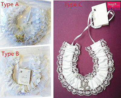 1pc Wedding Horseshoe Bridal Charm White Frilly Lace Gem Charm Horse Shoe BBH07