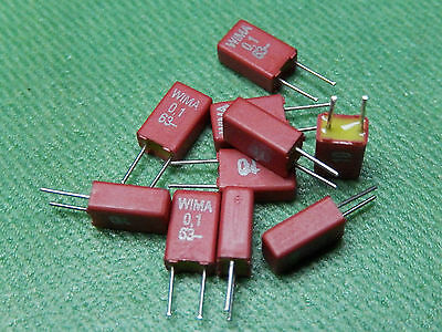 10x WIMA Capacitor MKS02 0.1µF 63V Pitch = 2.5mm