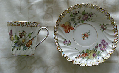 VINTAGE DRESDEN HAND PAINTED & GILDED WRYTHEN CUP & SAUCER