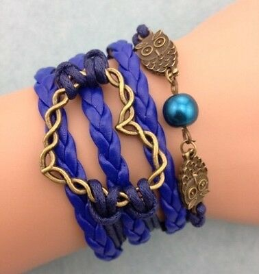 NEW Blue Infinity Heart Owl Pearl Leather Charm Bracelet plated Copper DIY