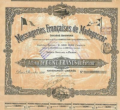 AFRICA MADAGASCAR FRENCH TRANSPORT COMPANY stock certificate 1898