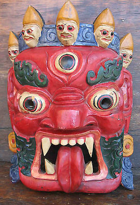 Vintage Mask with 5 Deadly Sins Hand Carved Wall Hanging Tourist Item Bali