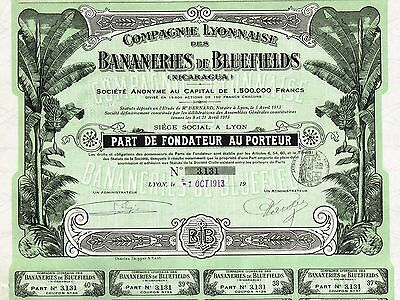 NICARAGUA BLUEFIELDS BANANA PLANTATIONS stock certificate 1913