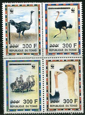 Chad 1996 Endangered Birds - World Wildlife Fund Mint Set With Rare Surcharge!