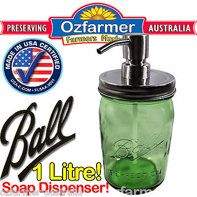 1 x 1 Litre Soap Dispenser Ball Mason Green Jar Stainless Steel Pump & Lid