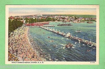 Postcard - Manly Harbour Beach With Ferry