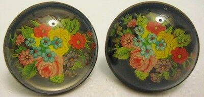 Old Pair Victorian Glass & Brass Floral Curtain Tie Backs -Unusual Rosette Style