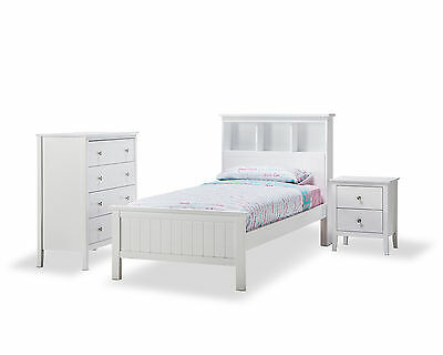 WHITE Timber Wood Single Bookcase Storage Bed Frame Boys, Girls, Kids, Children