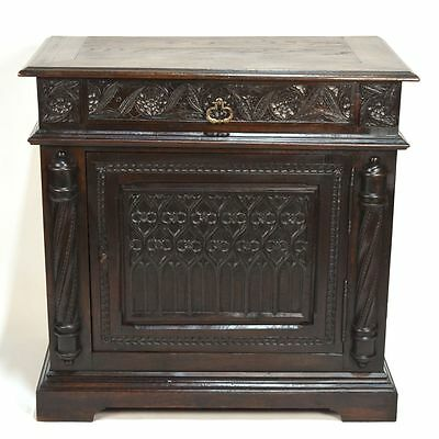 Stunning Antique English Carved Oak Gothic One Door Buffet Bar TV Cabinet