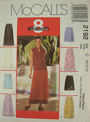 McCalls Sewing Pattern 2192 Wrap Skirts 8 Looks Uncut 10-14 Easy