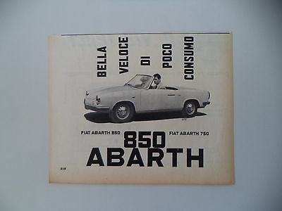 advertising Pubblicità 1960 FIAT ABARTH 850