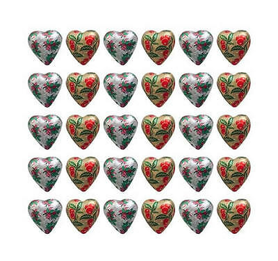 100 x SILVER HOLLY AND GOLD MISTLETOE PRINT FOILED CHRISTMAS CHOCOLATE HEARTS