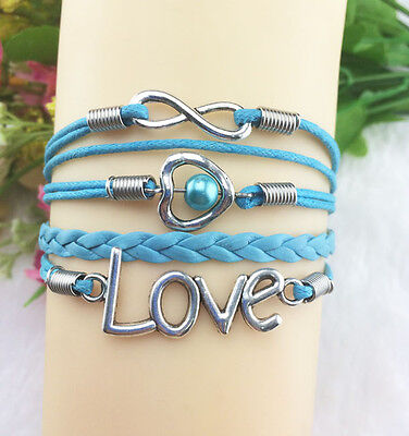 NEW Infinity Love Pearl Friendship Antique Silver Leather Cute Charm Bracelet