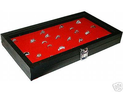 JEWELRY 72 RINGS BOX RING CASE WITH RED INSERT