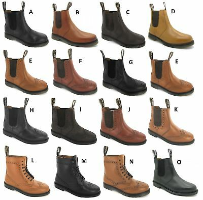 Mens Leather Dealer Slip Pull Chelsea Lace Brogue On Gusset Ankle Boots Size 6-1