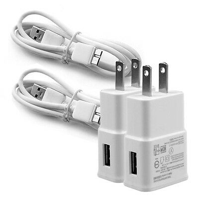 2x USB AC Power Adapter Wall Charger Cord Cable for Samsung Galaxy S5 Note 3 4