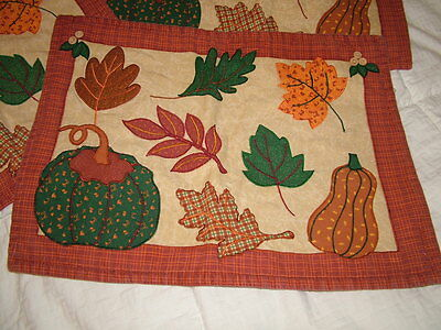 4 AUTUMN FALL PLACEMATS PUMPKINS & LEAVES 17X13 ORANGE & GREEN