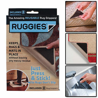 Ruggies Rug Carpet Grippers – As Seen on TV Reusable Triangle Pads 8X PACK