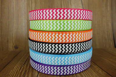 "30yd 5/8""16mm white CHEVRON printed and 6 colors grosgrain ribbon for hair bow"