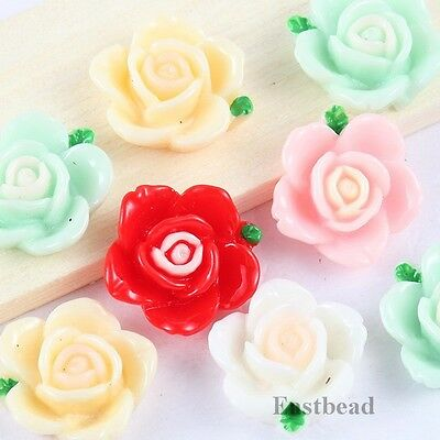 ON SALE 20pcs Mixed Color Sweety Flower Resin Flatback Cabochons 14x6.5mm 2574