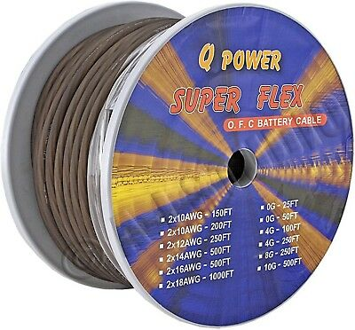 Q-Power 4G-100Ft/bk Car Audio System 4Ga Ground Cable Spool 4 Awg Gauge Black