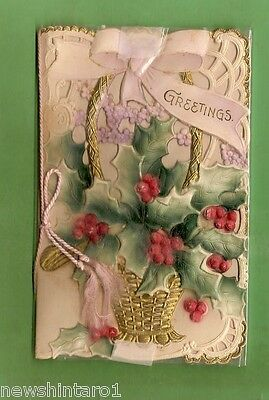 #Mm. #2.  Old Embossed Greeting Card, Christmas  Design