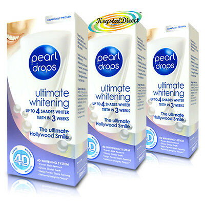 3x Pearl Drops Ultimate Whitening 4D Hollywood Smile Polish Toothpaste 50ML