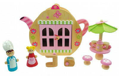 Kaper Kidz Children's Wooden Teapot Cafe Pretend Play Playset Toy! 8 pieces!