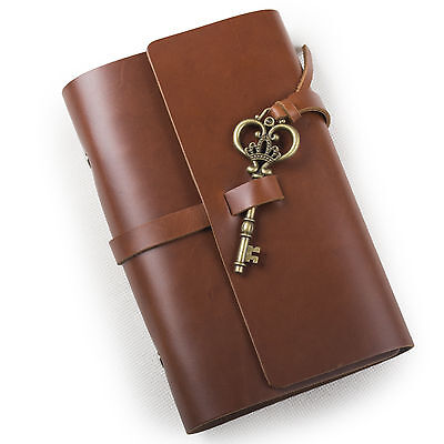 Ancicraft Refillable Leather Journal Diary Planner With Retro Key A6 Lined Gift
