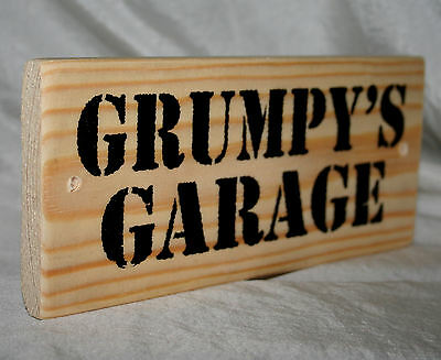 GRUMPY GARAGE MAN CAVE SHED Dad Workshop Door Den Sign Plaque Wood Home Office