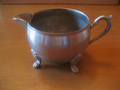 VINTAGE SILVER PLATED CREAMER SCROLLED HANDLE & FEET !!
