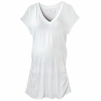 New Womens Maternity White Top Tee V-Neck Shirt Liz Lange NWT size sz M L XL